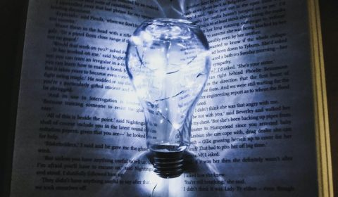 Light bulb within a book